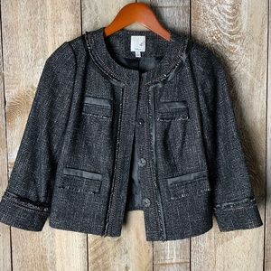 Halogen XS Jacket Satin Tweed Distressed Boxy
